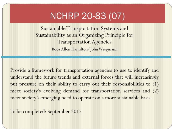 NCHRP 20-83 (07)