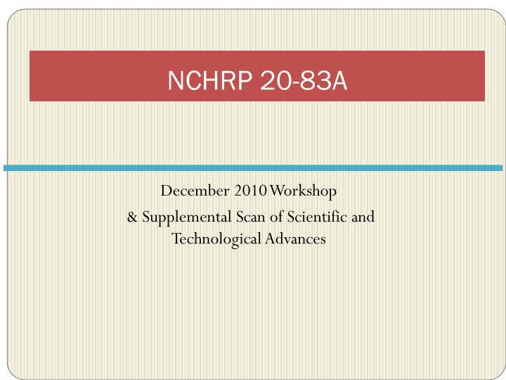 NCHRP 20-83A