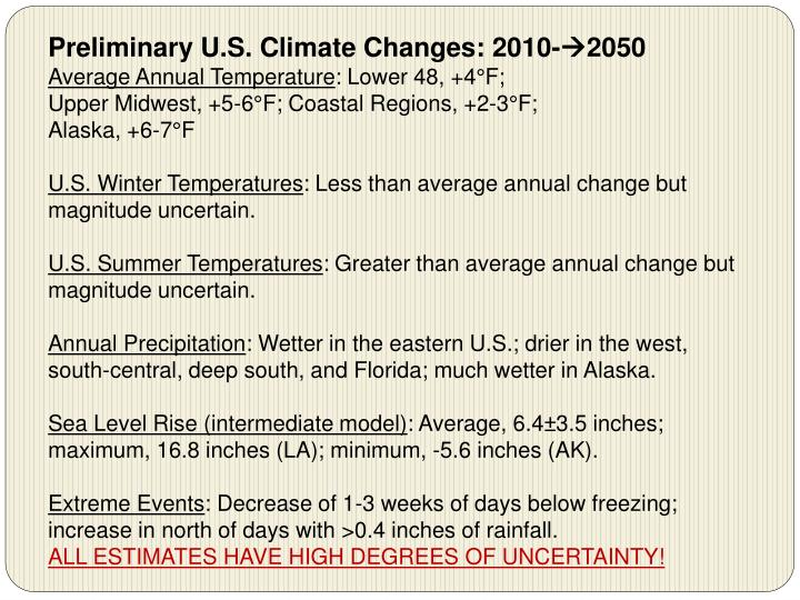 Preliminary U.S. Climate Changes: 2010-