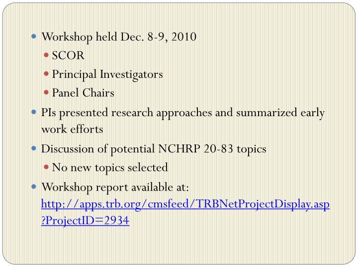 Workshop held Dec. 8-9, 2010