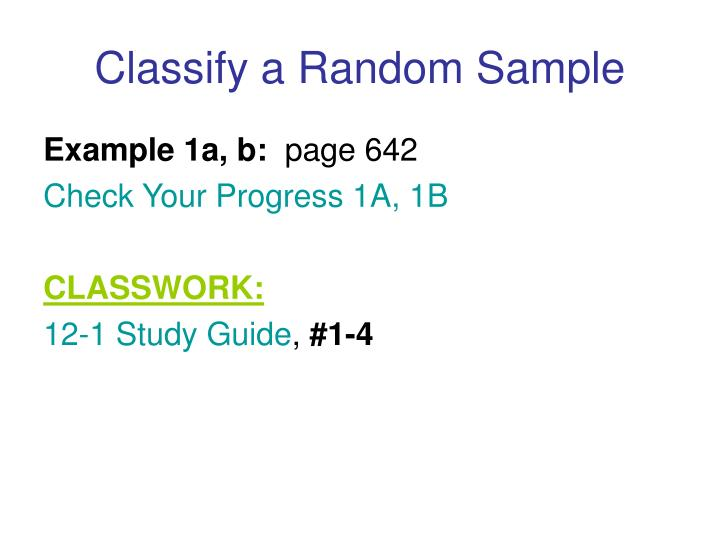 Classify a Random Sample