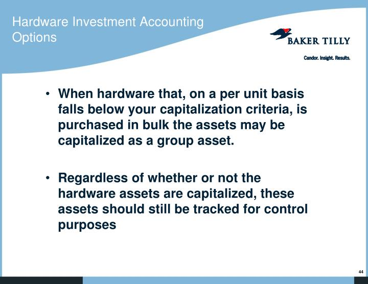 Hardware Investment Accounting Options