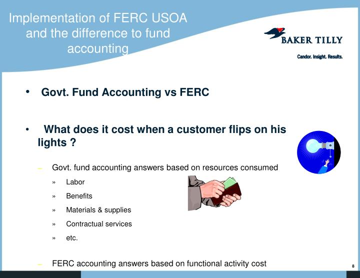 Implementation of FERC USOA and the difference to fund accounting