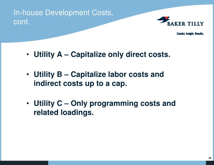 In-house Development Costs, cont.