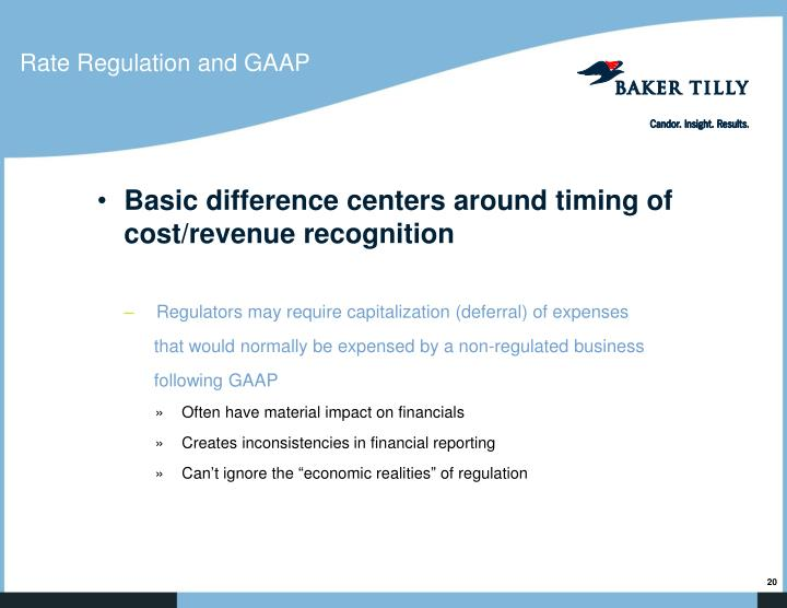 Rate Regulation and GAAP