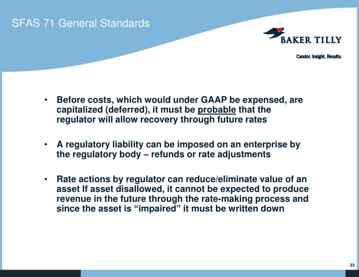 SFAS 71 General Standards