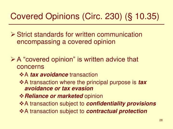 Covered Opinions (Circ. 230) (§ 10.35)