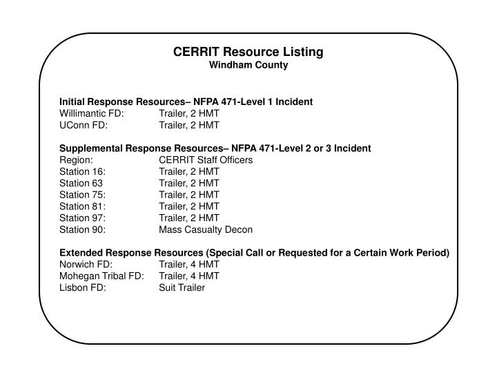 Initial Response Resources– NFPA 471-Level 1 Incident