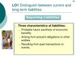 lo1 distinguish between current and long term liabilities