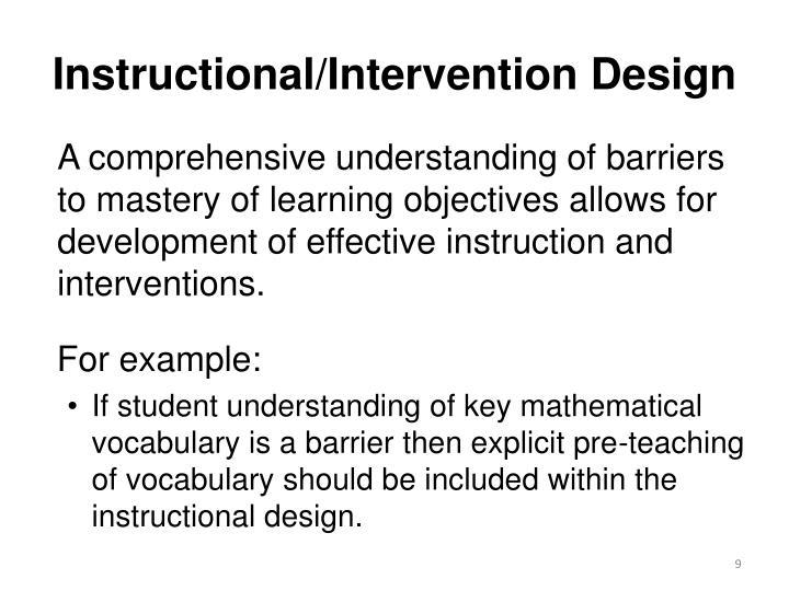 Instructional/Intervention Design