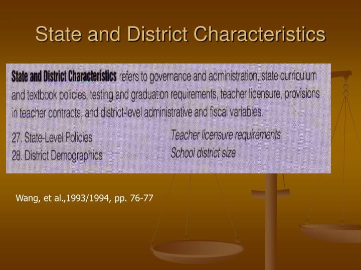 State and District Characteristics