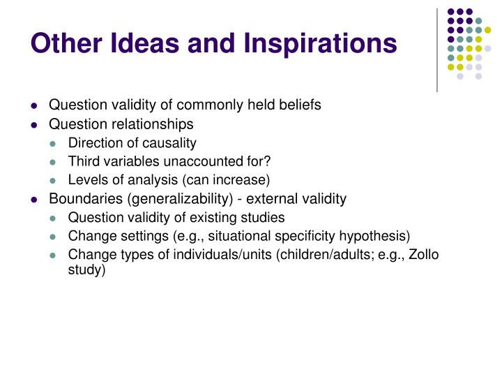 Other Ideas and Inspirations