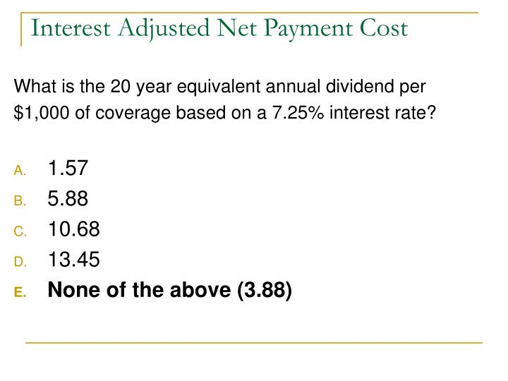 Interest Adjusted Net Payment Cost