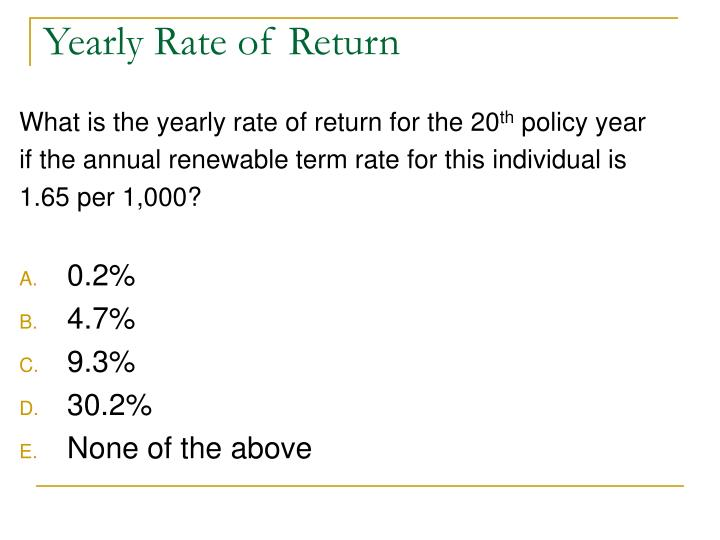 Yearly Rate of Return