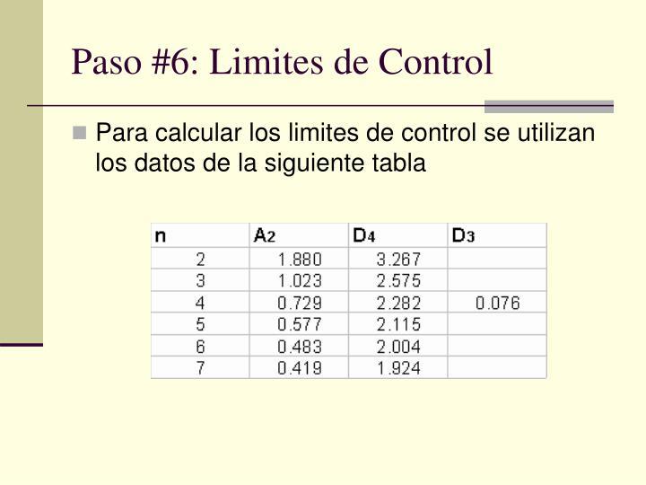 Paso #6: Limites de Control