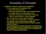 evaluation of concepts