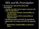 mdl and ml promulgation