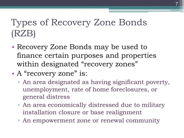 Types of Recovery Zone Bonds (RZB)