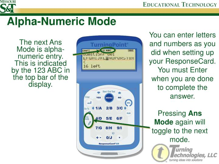 Alpha-Numeric Mode