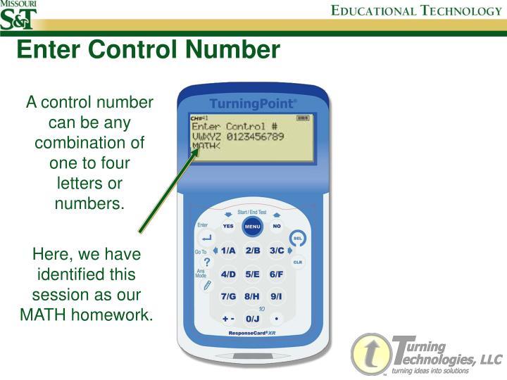 Enter Control Number