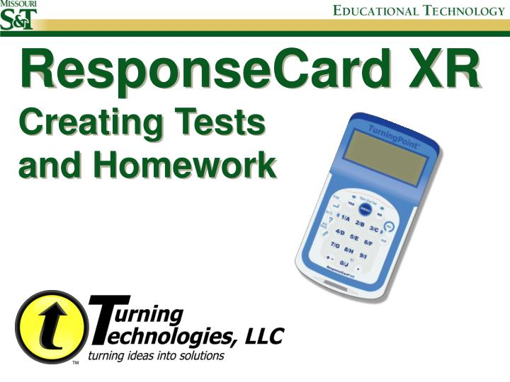 Responsecard xr creating tests and homework