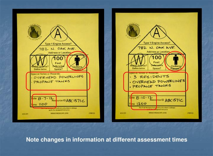 Note changes in information at different assessment times