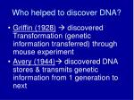 who helped to discover dna