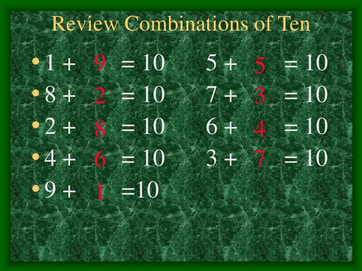 Review Combinations of Ten
