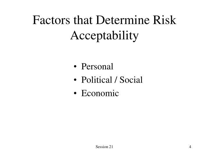 Factors that Determine Risk Acceptability