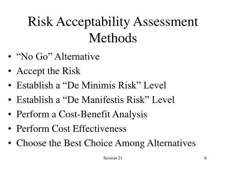 Risk Acceptability Assessment Methods