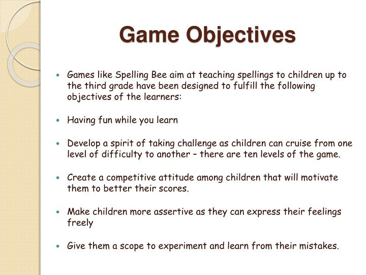 Game objectives