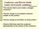 conductors and electric fields under electrostatic conditions