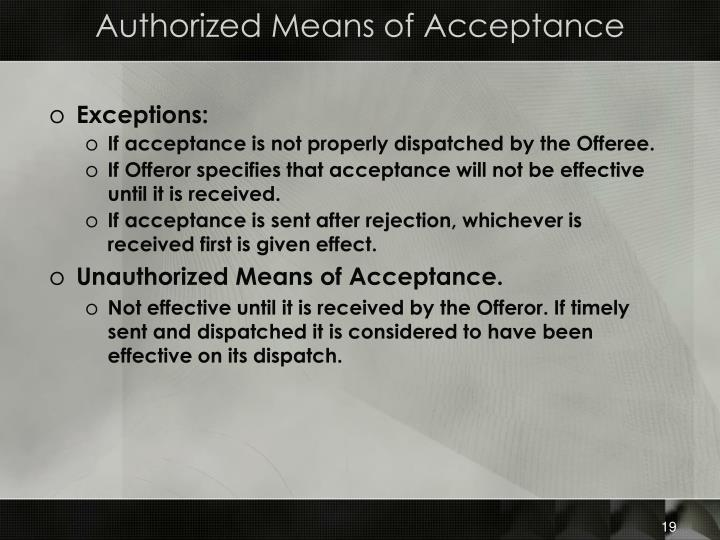 Authorized Means of Acceptance