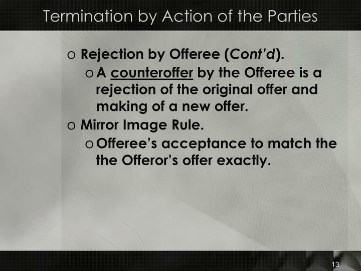 Termination by Action of the Parties