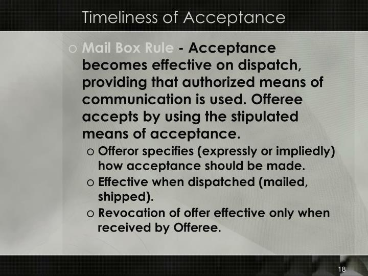 Timeliness of Acceptance