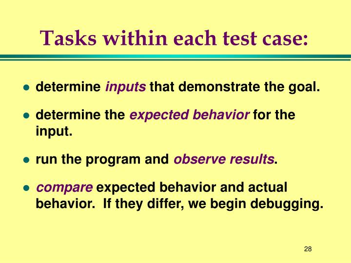 Tasks within each test case: