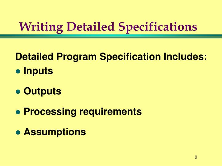 Writing Detailed Specifications
