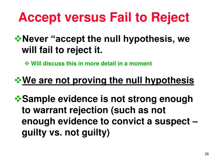 """Never """"accept the null hypothesis, we will fail to reject it."""