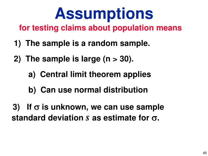 for testing claims about population means