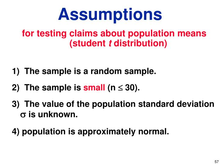 for testing claims about population means (student