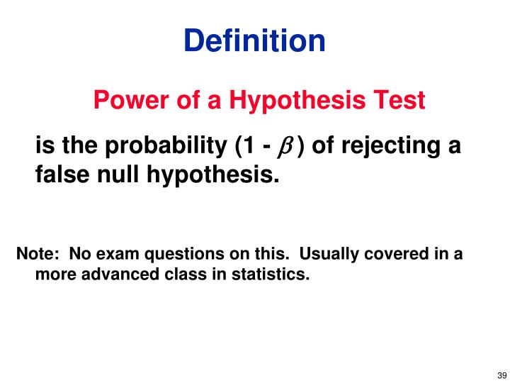Power of a Hypothesis Test