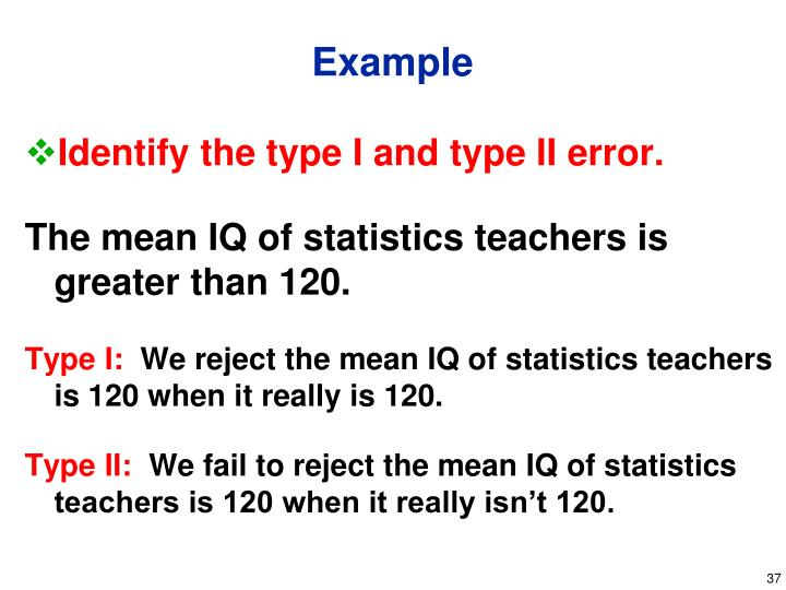 Identify the type I and type II error.