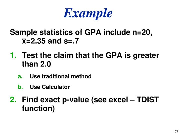 Sample statistics of GPA include n=20, x=2.35 and s=.7