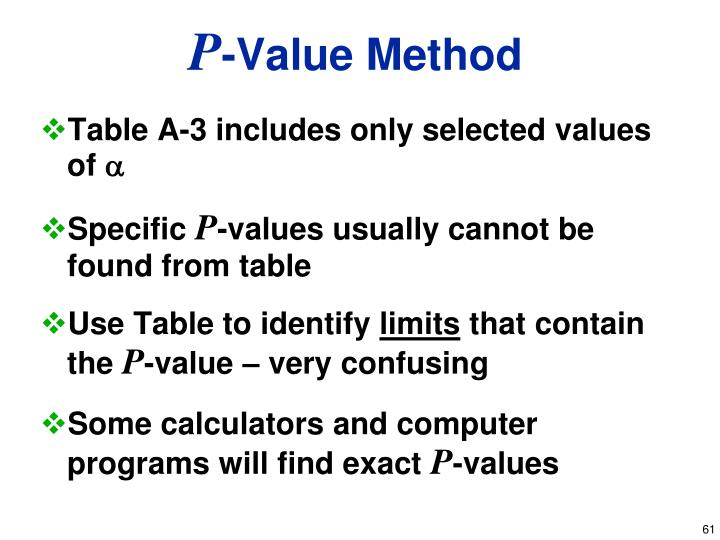 Table A-3 includes only selected values of
