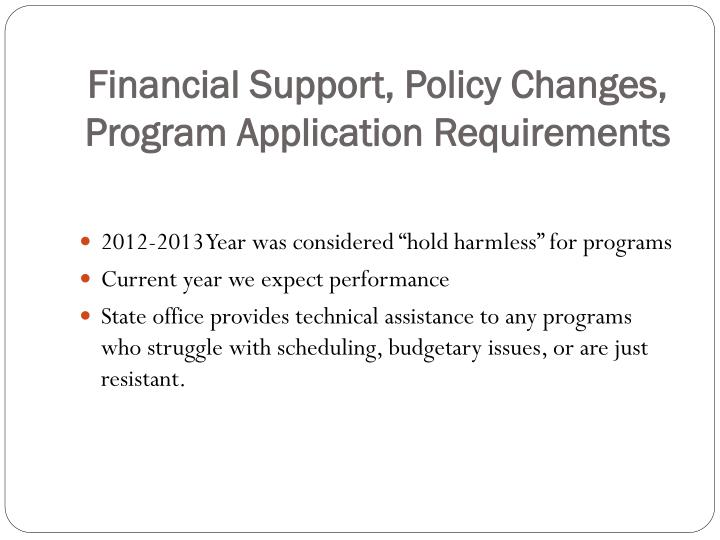 Financial Support, Policy Changes, Program Application Requirements