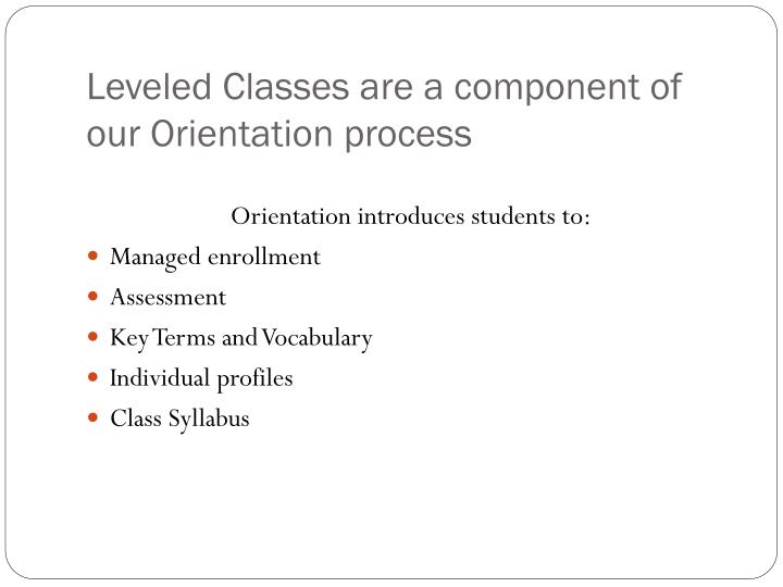 Leveled Classes are a component of our Orientation process