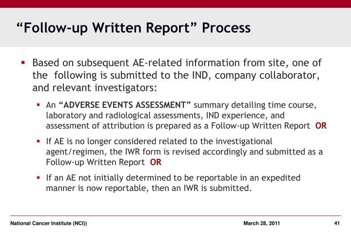 """""""Follow-up Written Report"""" Process"""