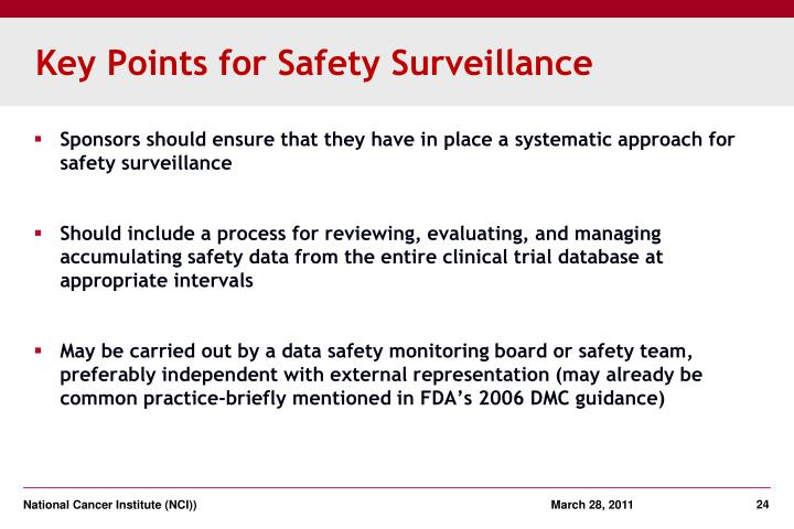 Key Points for Safety Surveillance