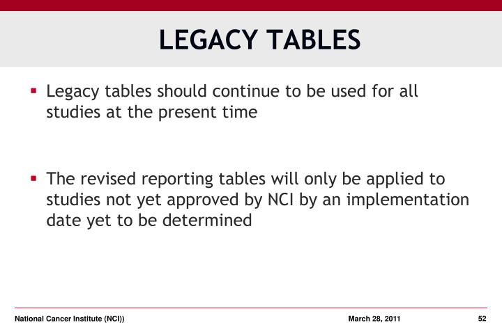 LEGACY TABLES