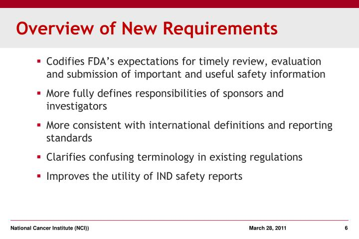 Overview of New Requirements